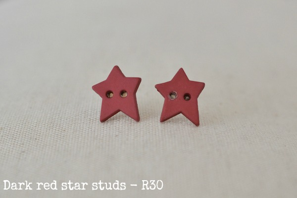 dark red star studs
