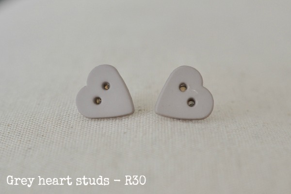 grey heart studs